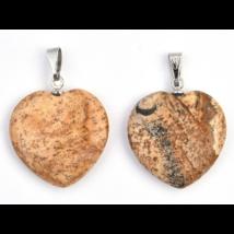Tájképjáspis kis szív medál