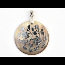Gyöngyház virágos korong medál