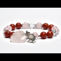 Szexuális gátlások oldása, szebb bőr - Korall, hegyikristály, rózsakvarc szíves karkötő Fatima kezével