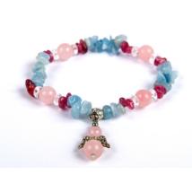 Vitalitás, szerelem, nyugtató - Akvamarin, rózsakvarc, turmalin angyalos karkötő